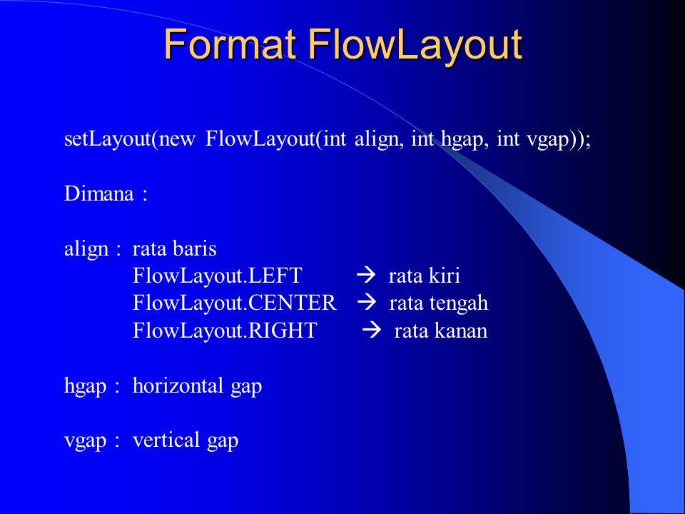 Format FlowLayout setLayout(new FlowLayout(int align, int hgap, int vgap)); Dimana : align : rata baris.