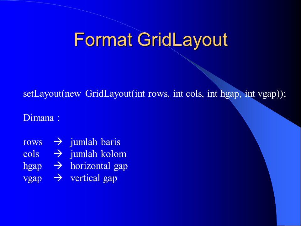 Format GridLayout setLayout(new GridLayout(int rows, int cols, int hgap, int vgap)); Dimana : rows  jumlah baris.