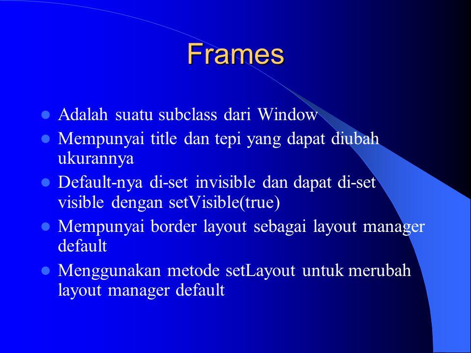 Frames Adalah suatu subclass dari Window