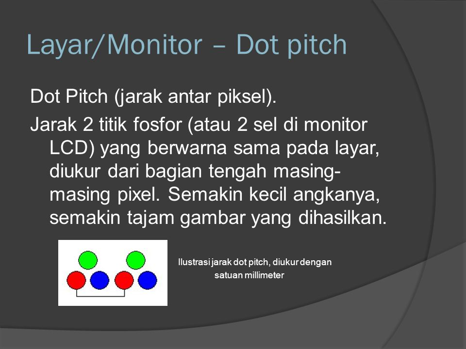 Layar/Monitor – Dot pitch