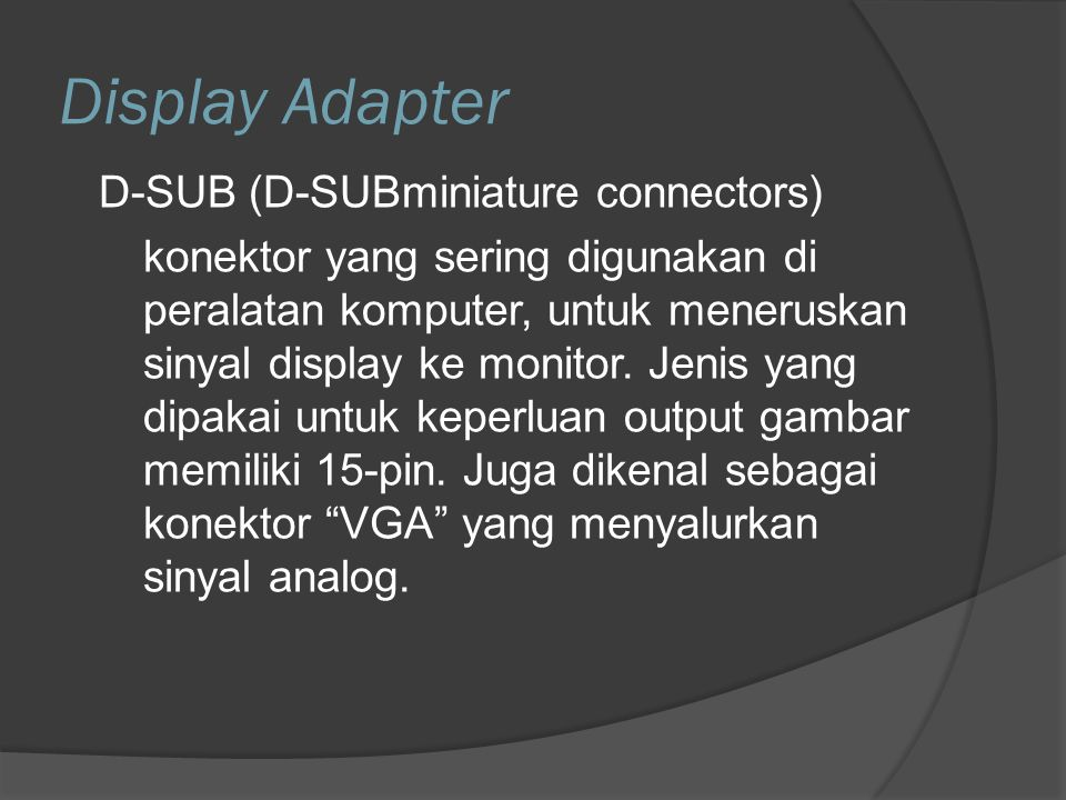 Display Adapter D-SUB (D-SUBminiature connectors)