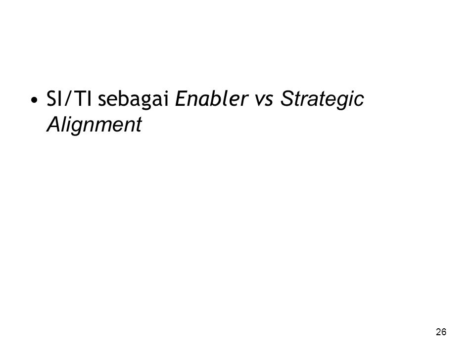SI/TI sebagai Enabler vs Strategic Alignment