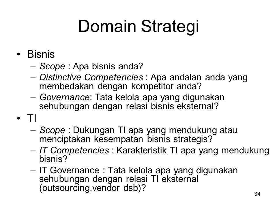 Domain Strategi Bisnis TI Scope : Apa bisnis anda
