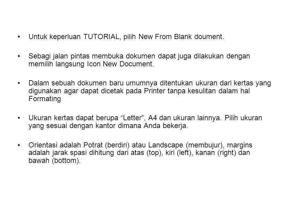 Untuk keperluan TUTORIAL, pilih New From Blank doument.
