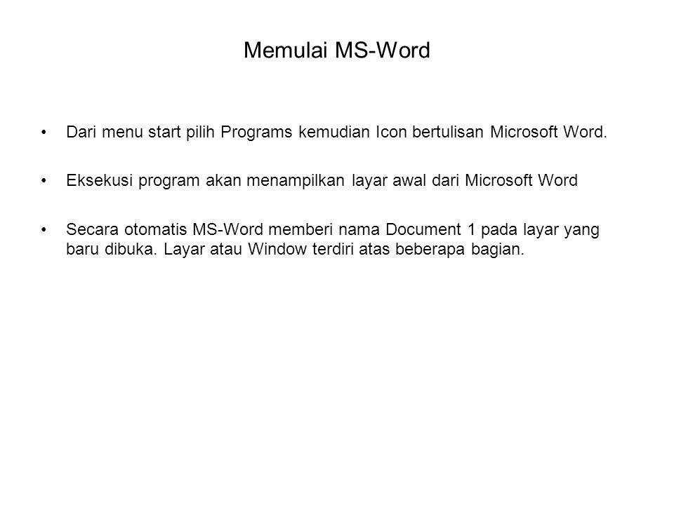 Memulai MS-Word Dari menu start pilih Programs kemudian Icon bertulisan Microsoft Word.