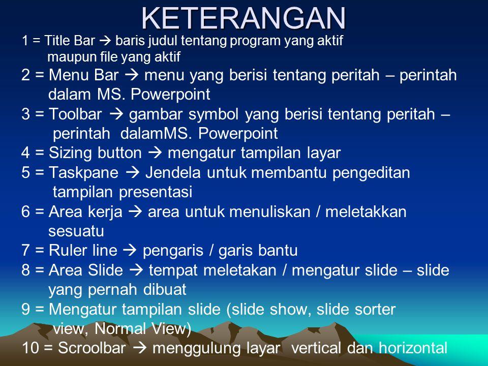 KETERANGAN 2 = Menu Bar  menu yang berisi tentang peritah – perintah