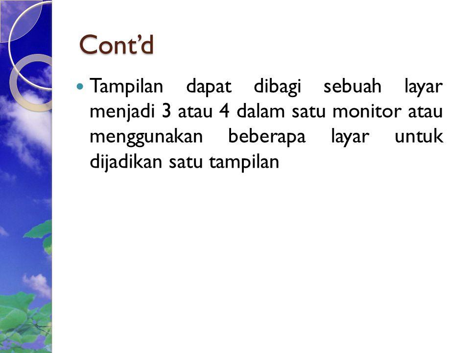 Cont'd Tampilan dapat dibagi sebuah layar menjadi 3 atau 4 dalam satu monitor atau menggunakan beberapa layar untuk dijadikan satu tampilan.