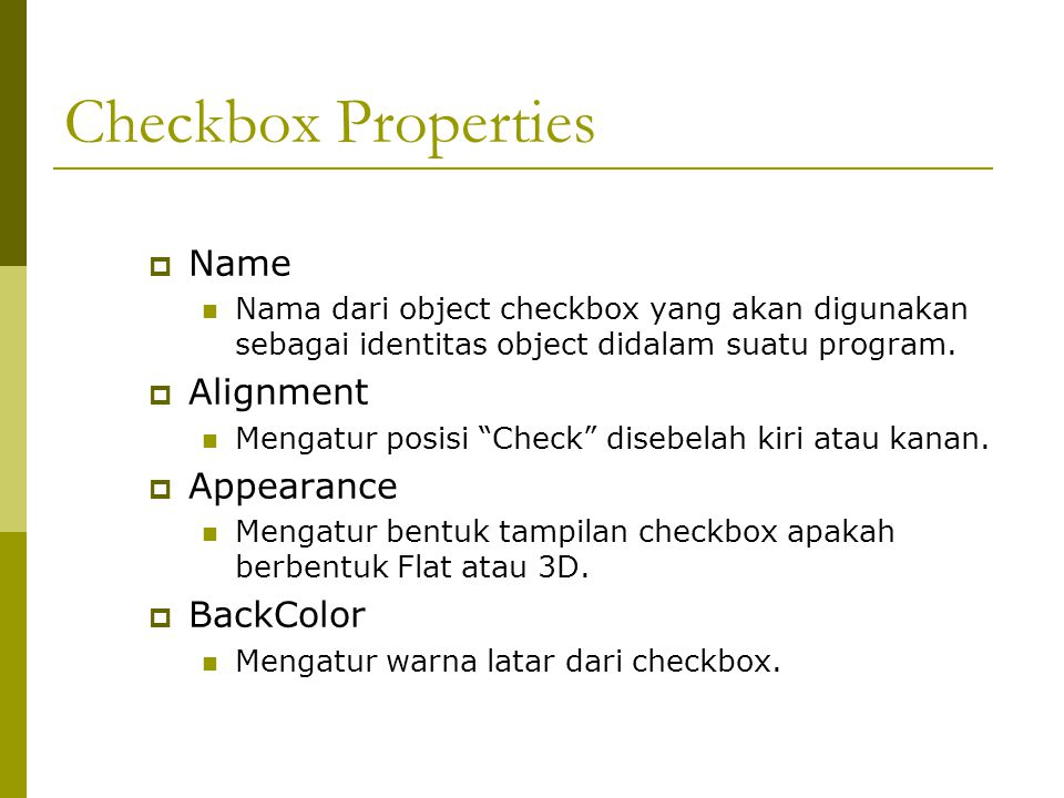 Checkbox Properties Name Alignment Appearance BackColor