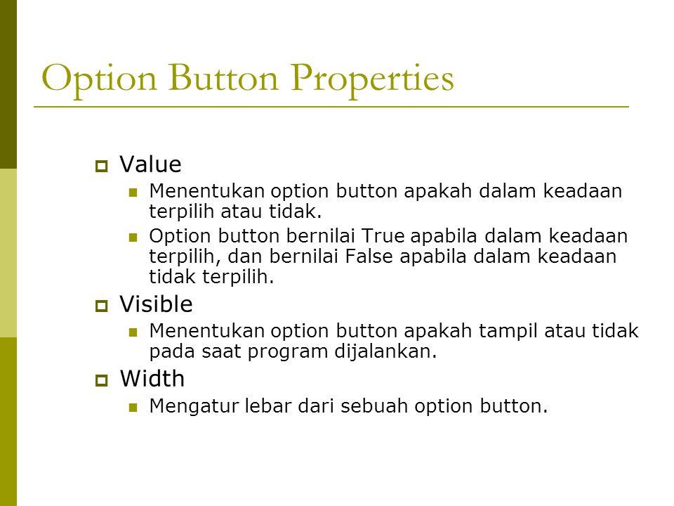 Option Button Properties