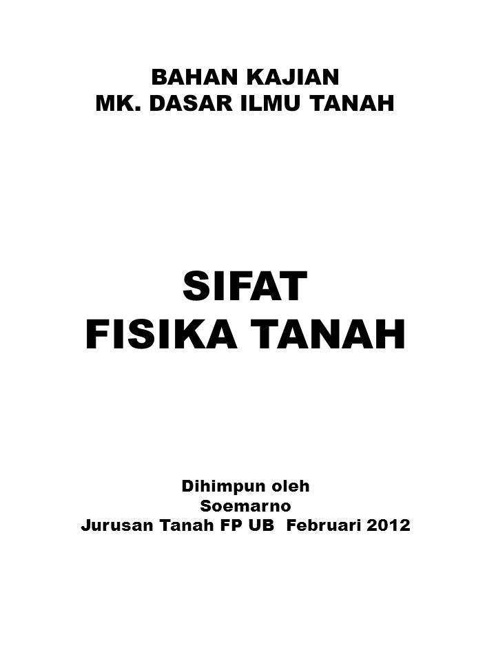 Jurusan Tanah FP UB Februari 2012