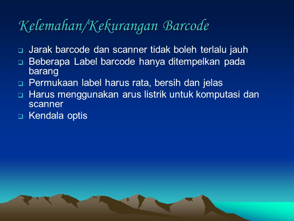 Kelemahan/Kekurangan Barcode