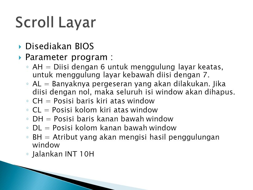 Scroll Layar Disediakan BIOS Parameter program :