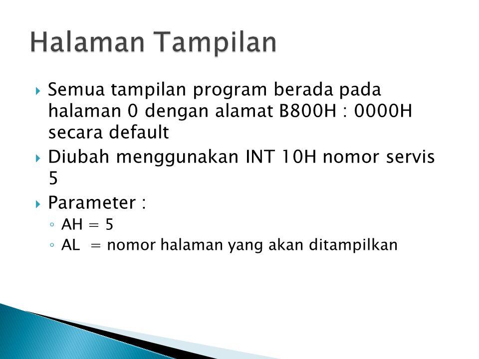 Halaman Tampilan Semua tampilan program berada pada halaman 0 dengan alamat B800H : 0000H secara default.