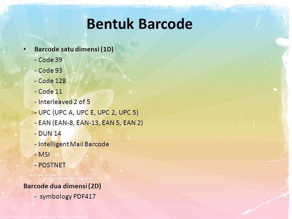 Bentuk Barcode Barcode satu dimensi (1D) - Code 39 - Code 93