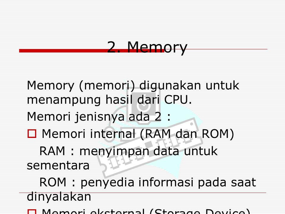 2. Memory Memory (memori) digunakan untuk menampung hasil dari CPU.