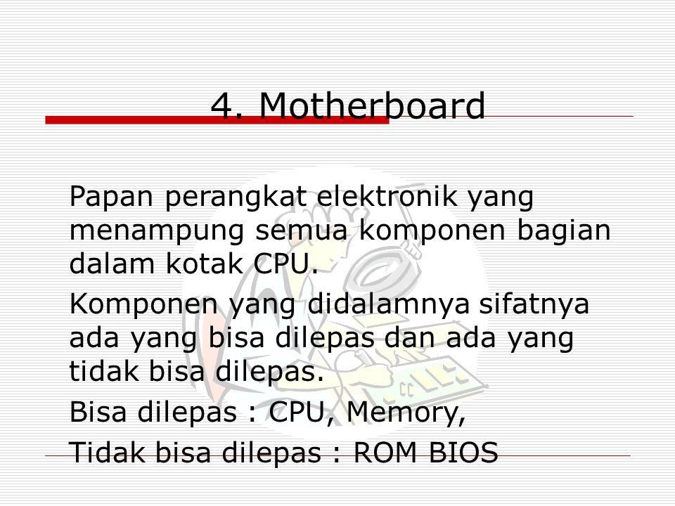 4. Motherboard Papan perangkat elektronik yang menampung semua komponen bagian dalam kotak CPU.