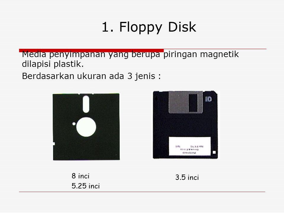 1. Floppy Disk Media penyimpanan yang berupa piringan magnetik dilapisi plastik. Berdasarkan ukuran ada 3 jenis :