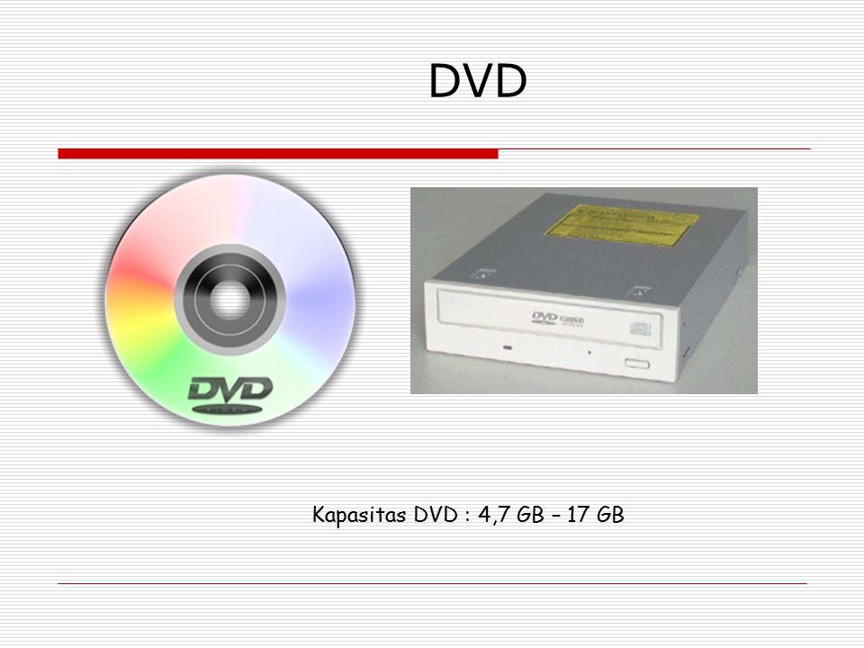 DVD Kapasitas DVD : 4,7 GB – 17 GB