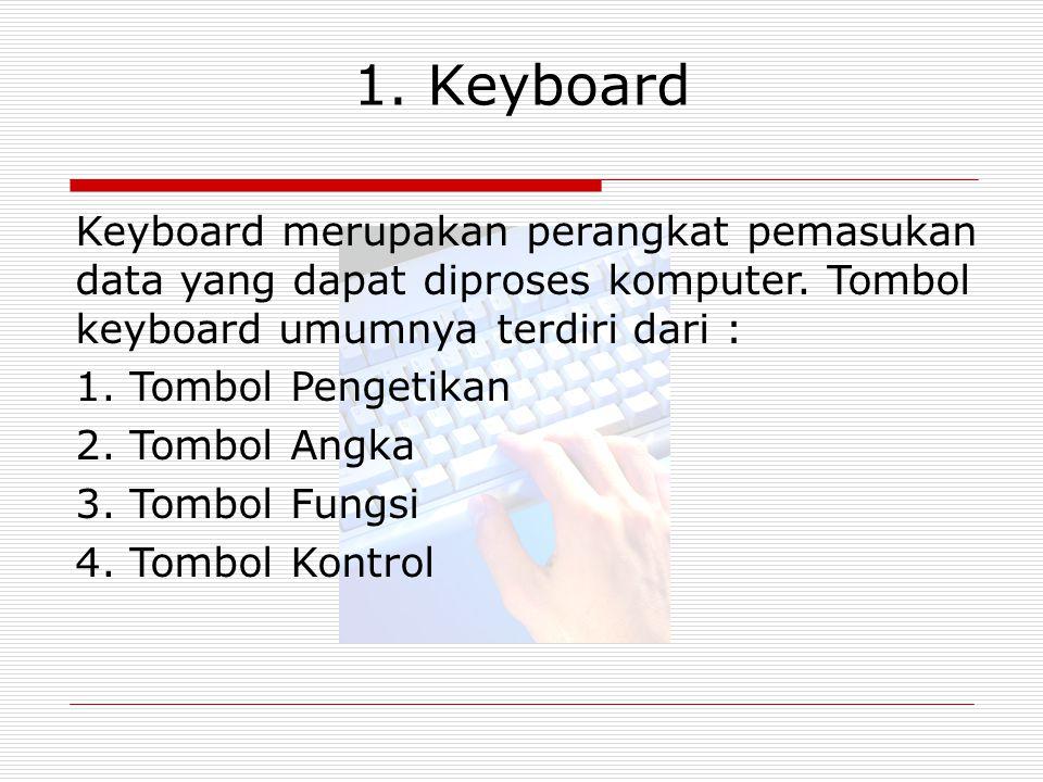 1. Keyboard Keyboard merupakan perangkat pemasukan data yang dapat diproses komputer. Tombol keyboard umumnya terdiri dari :