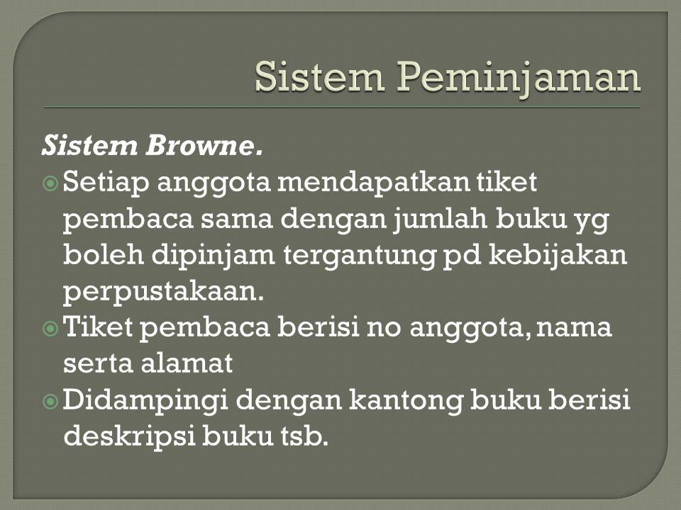 Sistem Peminjaman Sistem Browne.