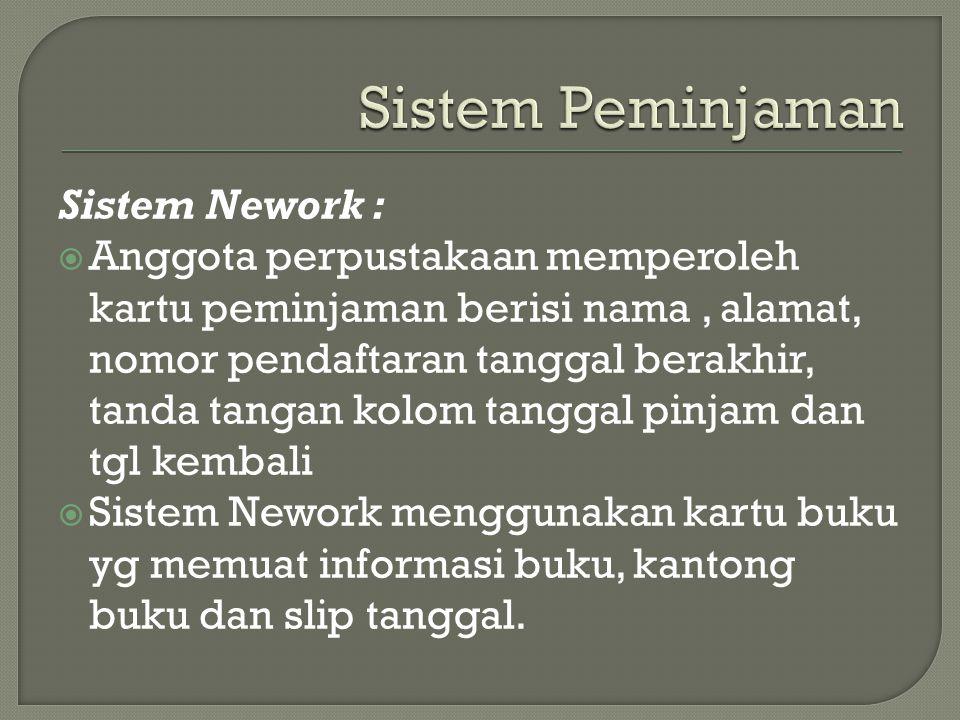 Sistem Peminjaman Sistem Nework :