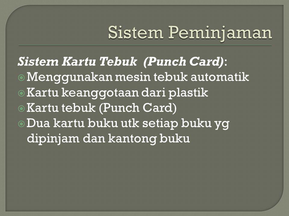 Sistem Peminjaman Sistem Kartu Tebuk (Punch Card):