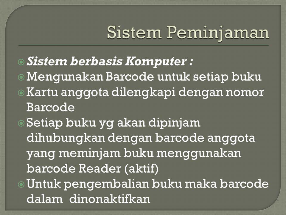 Sistem Peminjaman Sistem berbasis Komputer :
