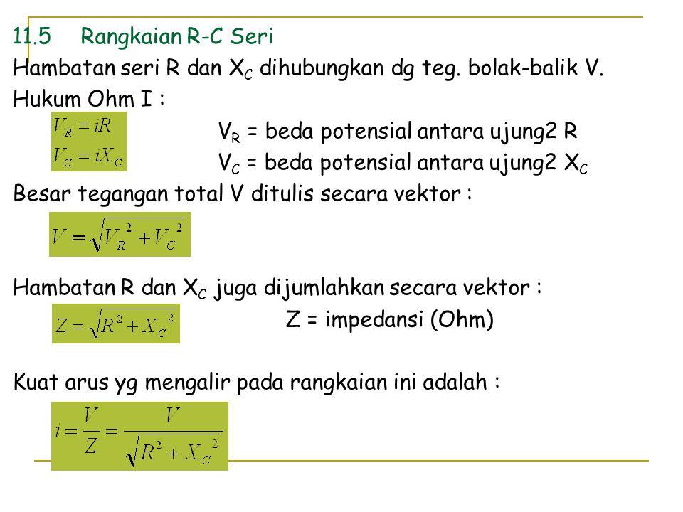 11.5 Rangkaian R-C Seri Hambatan seri R dan XC dihubungkan dg teg. bolak-balik V. Hukum Ohm I : VR = beda potensial antara ujung2 R.