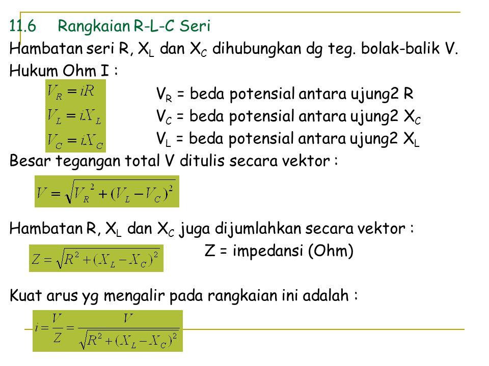 11.6 Rangkaian R-L-C Seri Hambatan seri R, XL dan XC dihubungkan dg teg. bolak-balik V. Hukum Ohm I :