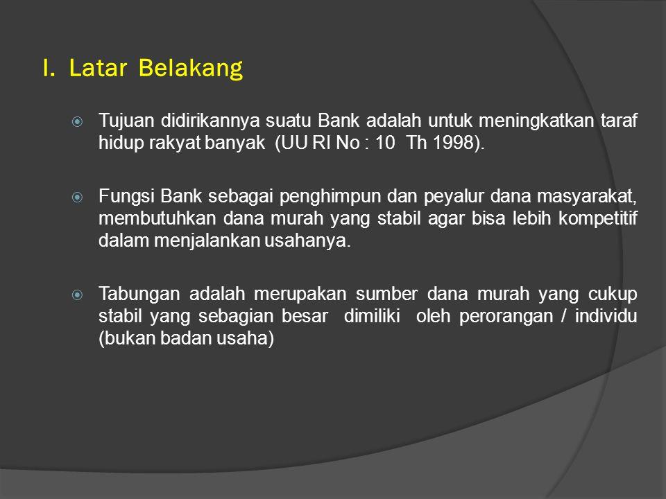 I. Latar Belakang Tujuan didirikannya suatu Bank adalah untuk meningkatkan taraf hidup rakyat banyak (UU RI No : 10 Th 1998).