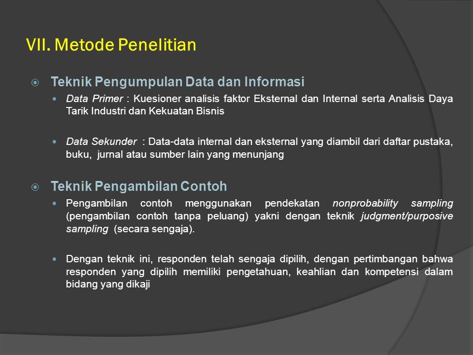 VII. Metode Penelitian Teknik Pengumpulan Data dan Informasi