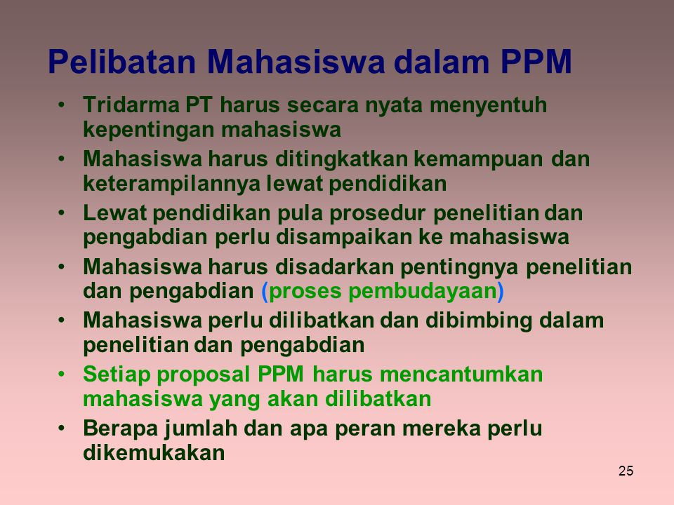 Pelibatan Mahasiswa dalam PPM