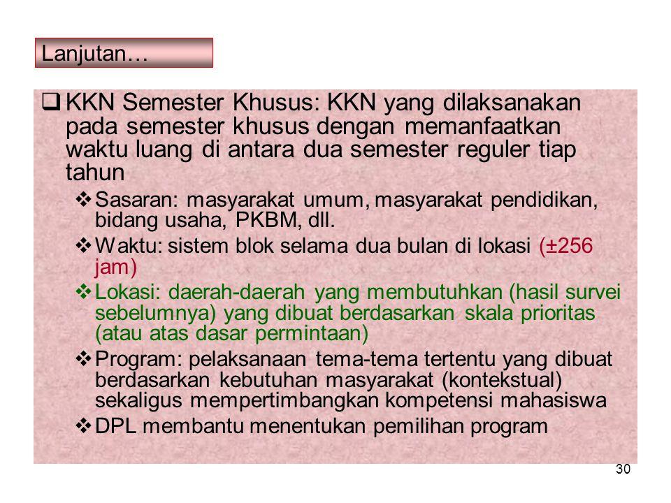 Lanjutan… KKN Semester Khusus: KKN yang dilaksanakan pada semester khusus dengan memanfaatkan waktu luang di antara dua semester reguler tiap tahun.