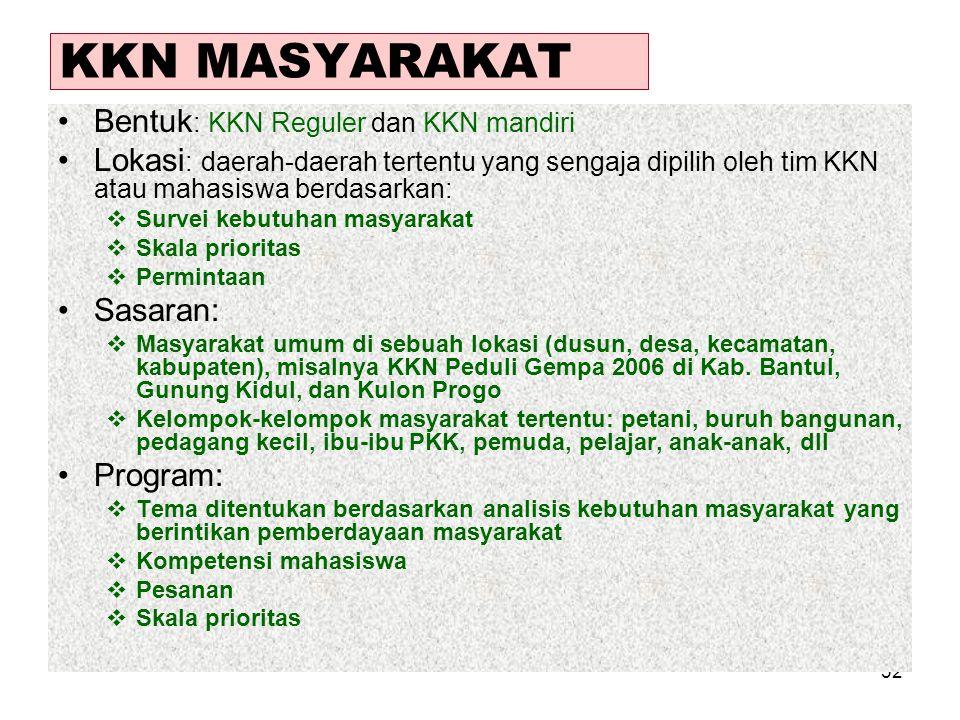 KKN MASYARAKAT Bentuk: KKN Reguler dan KKN mandiri