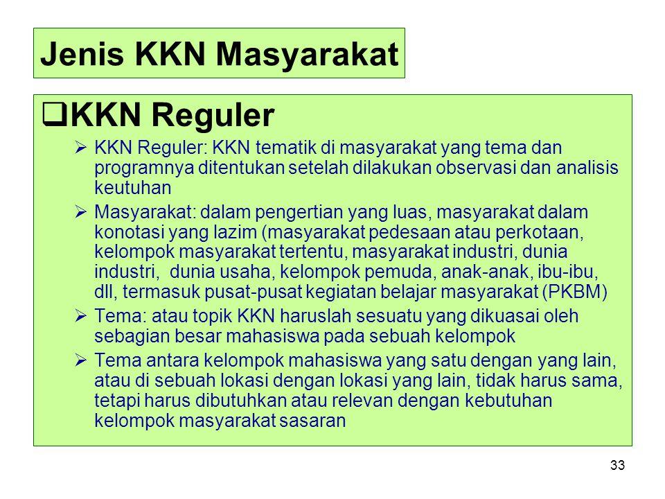 Jenis KKN Masyarakat KKN Reguler