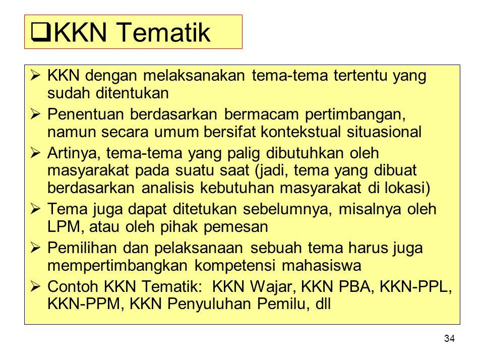 KKN Tematik KKN dengan melaksanakan tema-tema tertentu yang sudah ditentukan.