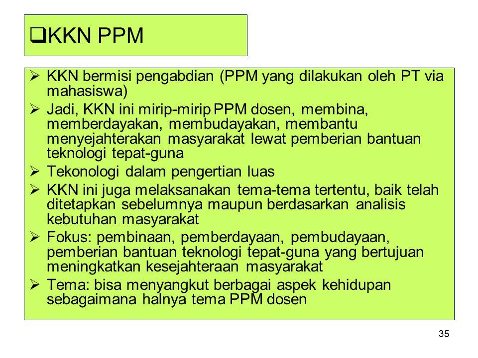 KKN PPM KKN bermisi pengabdian (PPM yang dilakukan oleh PT via mahasiswa)