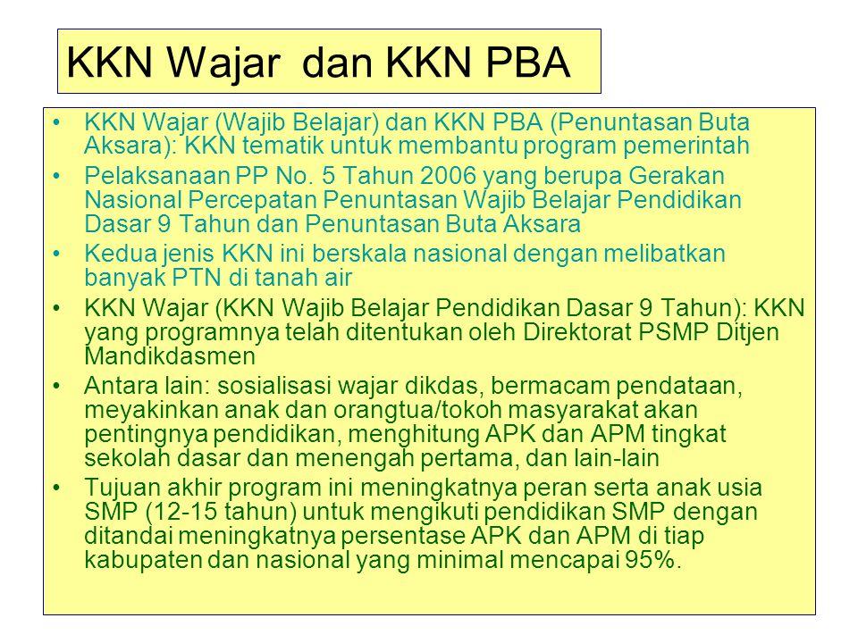 KKN Wajar dan KKN PBA KKN Wajar (Wajib Belajar) dan KKN PBA (Penuntasan Buta Aksara): KKN tematik untuk membantu program pemerintah.
