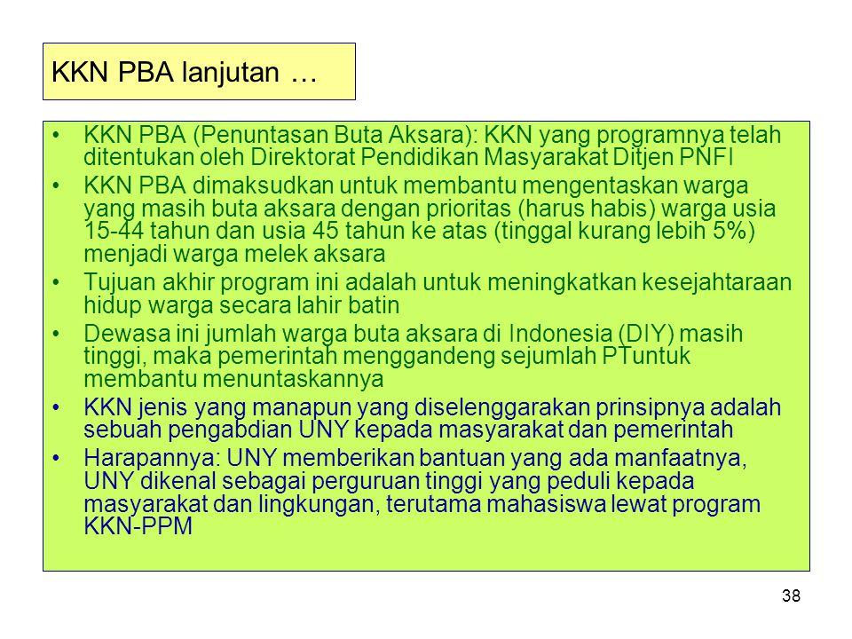 KKN PBA lanjutan … KKN PBA (Penuntasan Buta Aksara): KKN yang programnya telah ditentukan oleh Direktorat Pendidikan Masyarakat Ditjen PNFI.