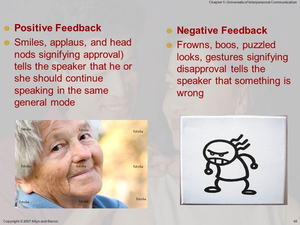 Positive Feedback Negative Feedback