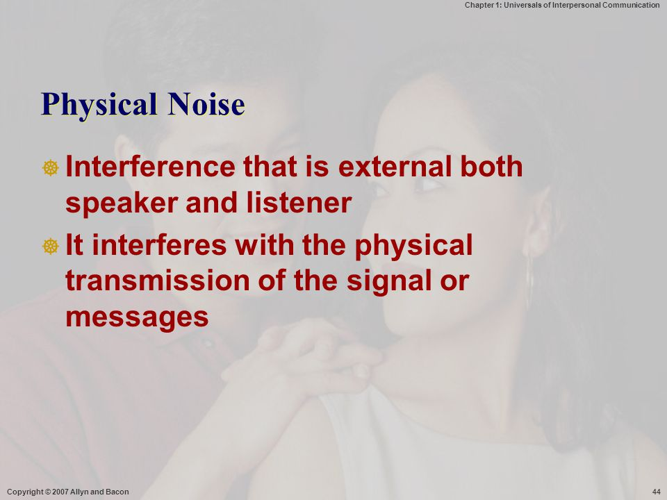 Physical Noise Interference that is external both speaker and listener