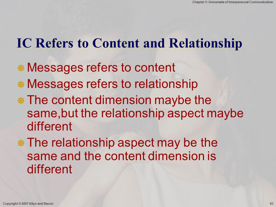 IC Refers to Content and Relationship