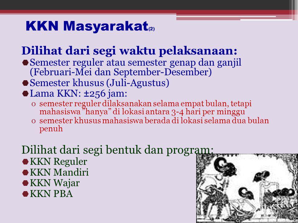 KKN Masyarakat(2) Dilihat dari segi waktu pelaksanaan: