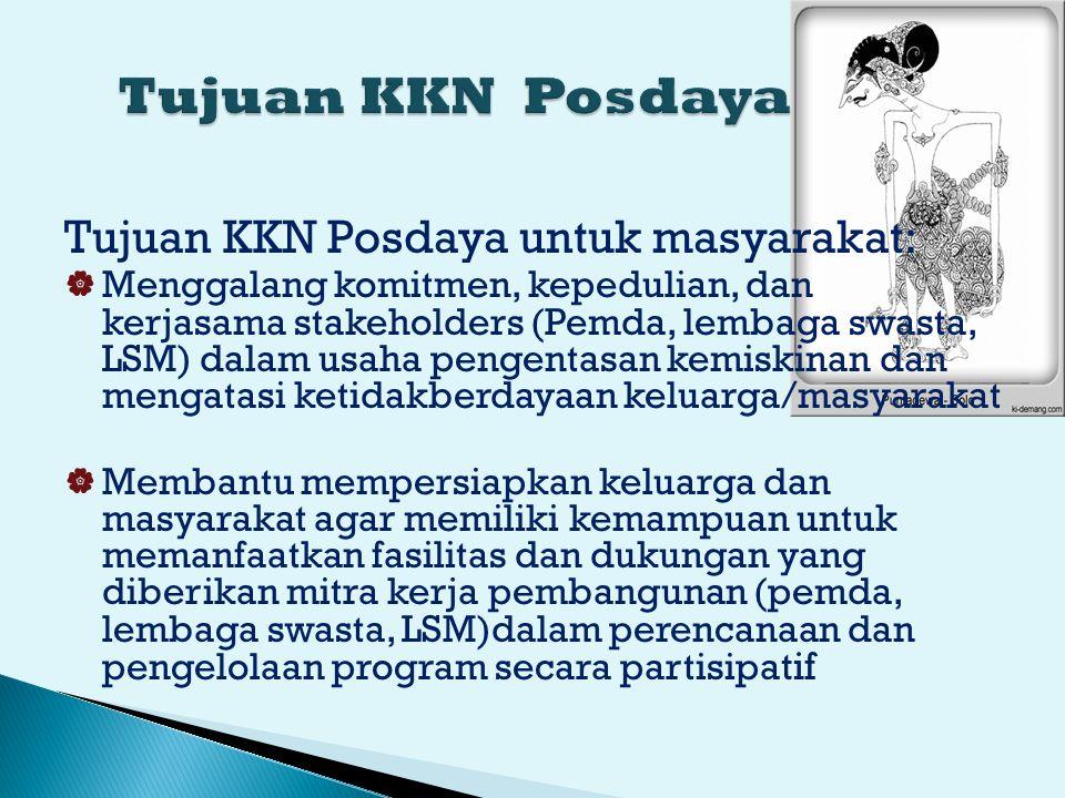 Tujuan KKN Posdaya Tujuan KKN Posdaya untuk masyarakat: