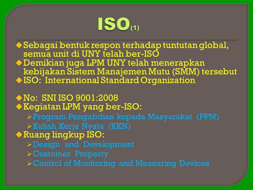 ISO(1) Sebagai bentuk respon terhadap tuntutan global, semua unit di UNY telah ber-ISO.