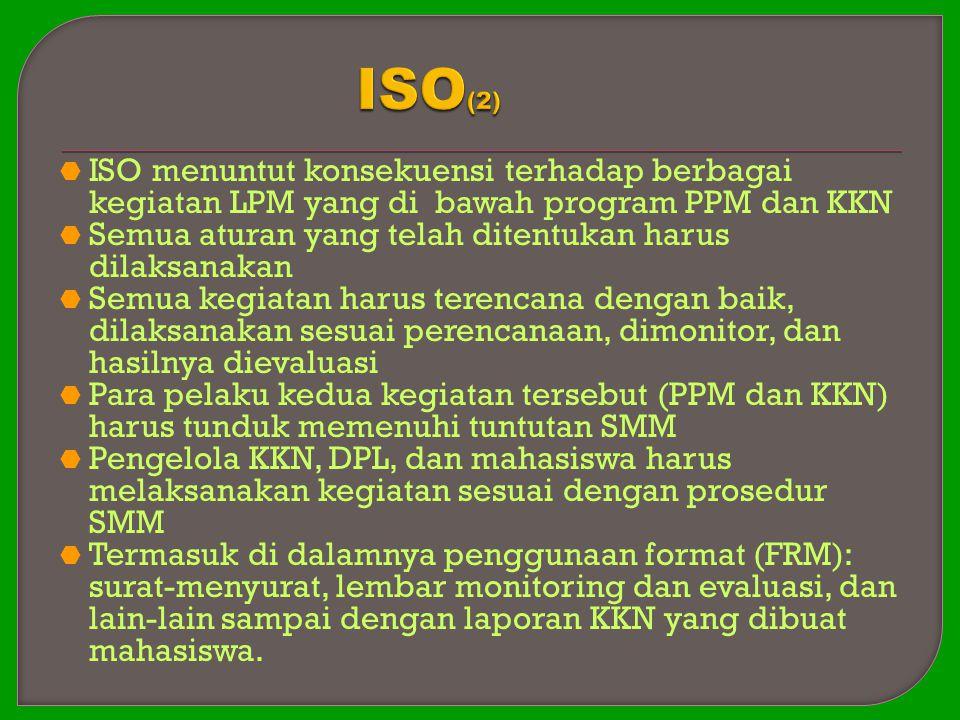 ISO(2) ISO menuntut konsekuensi terhadap berbagai kegiatan LPM yang di bawah program PPM dan KKN.