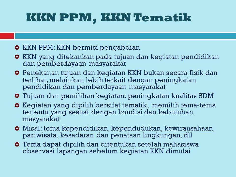 KKN PPM, KKN Tematik KKN PPM: KKN bermisi pengabdian