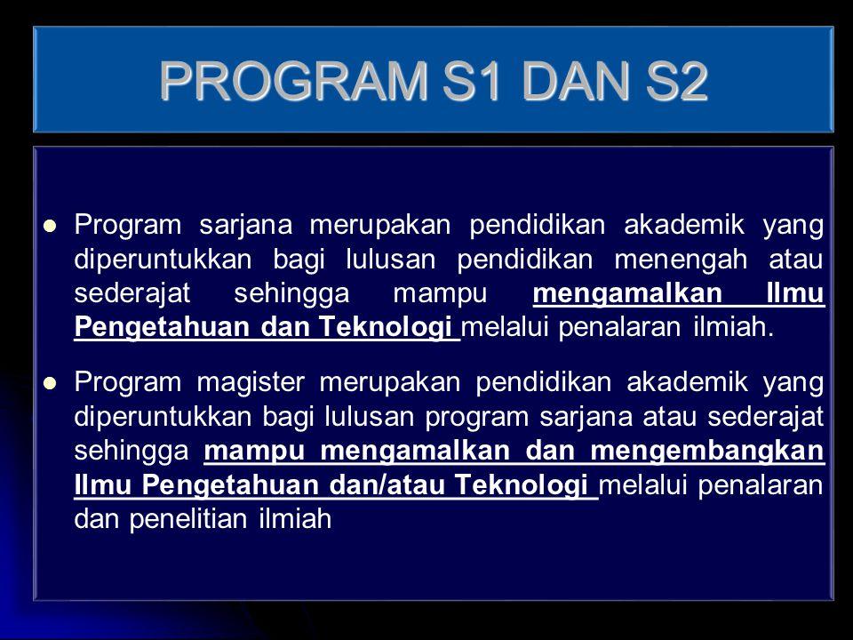 PROGRAM S1 DAN S2