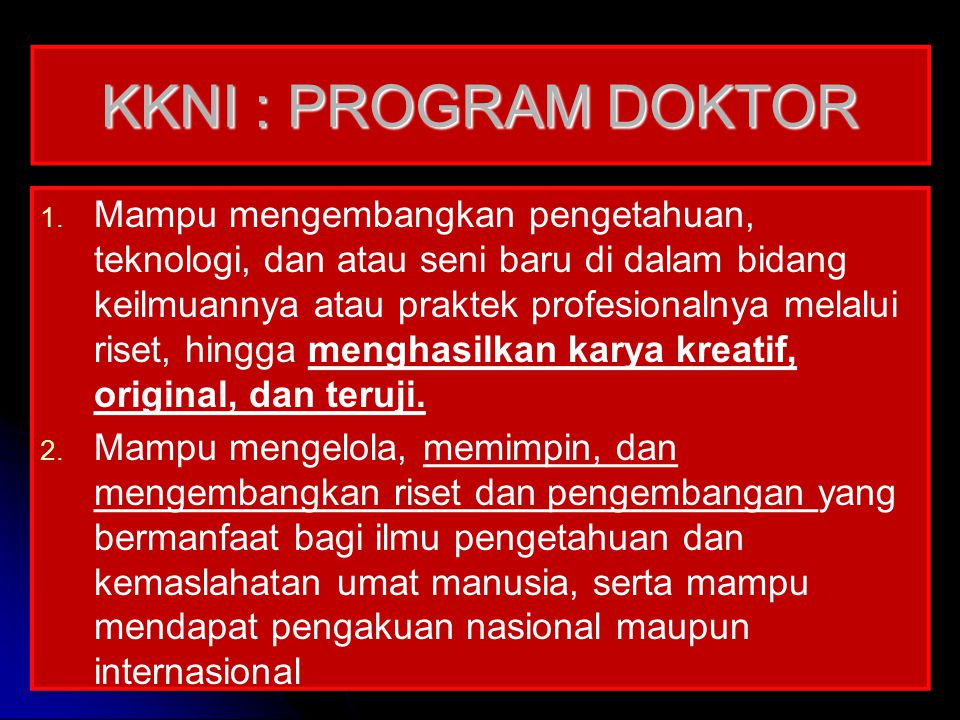 KKNI : PROGRAM DOKTOR