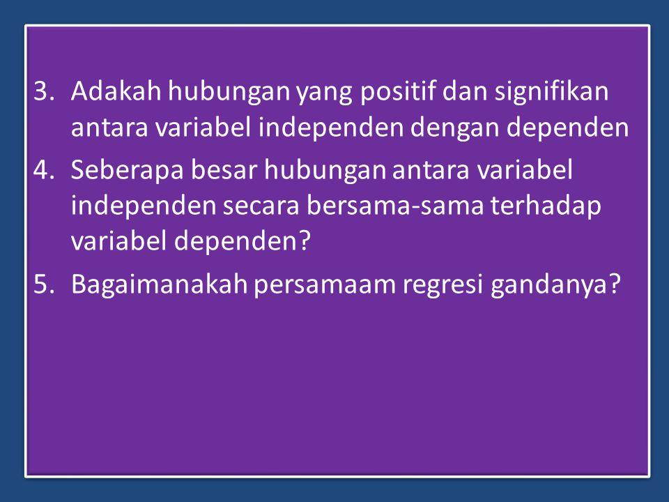Adakah hubungan yang positif dan signifikan antara variabel independen dengan dependen
